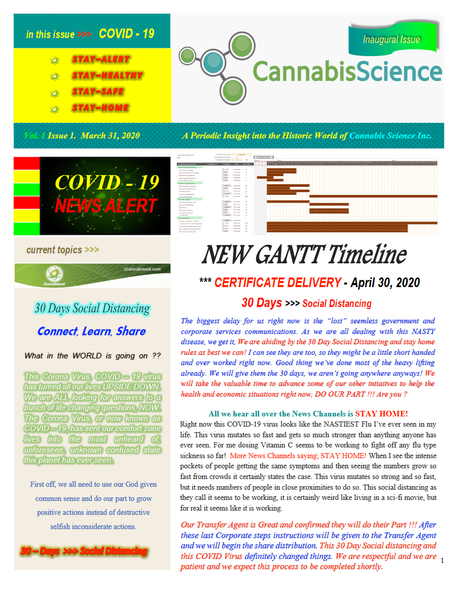 Cannabis Science Newsletter Vol. 1, March 31st 2020